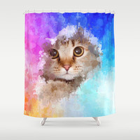Cat in drip paint art by healinglove Shower Curtain by Healinglove