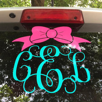 Bow Monogram Car Decal - Monogram Bow Decal - Monogram Car Decal - Monogram Decal - Car Decal - Vine Monogram Car Decal