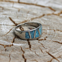 Vintage Men's Silver Turquoise Ring