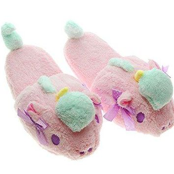 TOKYOT Womens Animal Slippers Unicorn Cute Home Shoes Plush Pink Fluffy Size 57