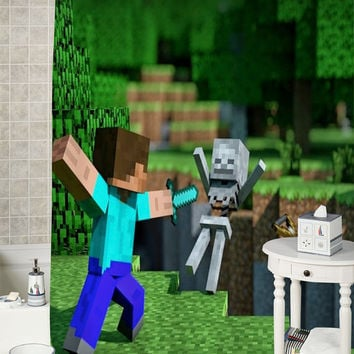 Minecraft Mine Craft Game 1 special shower curtains that will make your bathroom adorable.