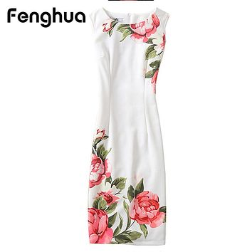 Fenghua Casual Summer Dress Women  Sexy Slim Floral Vintage Ladies Office Dress Elegant Party Dresses Plus Size 4XL Vestidos