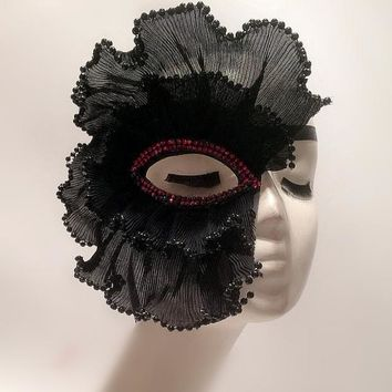 Black One Eye Lace Mask Masquerade Ball Mask Fancy Dress Costume Party Accessory