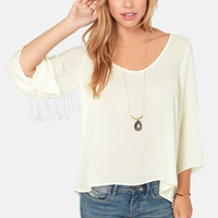Drops By and By Fringe Cream Top