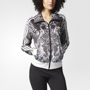 Adidas Clover Retro Phoenix Print Long Sleeve Casual Zip Cardigan Jacket Coat