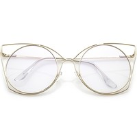 Women's Oversize Laser Cut Round Flat Clear Lens Cat Eye Glasses C347