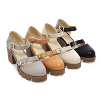 Women Sandals Buckle Platform High-heeled Shoes