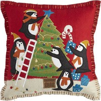Whimsy Holiday Penguin Pillow
