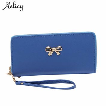 Aelicy 2018 Women's Purse Long Design PU Leather Women's Long Wallet Female High Capacity Double Zippers Clutch Purse Wristlet