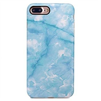 GOLINK iPhone 7 Plus Case/iPhone 8 Plus Marble Case, Matte Marble Series Slim-Fit Anti-Scratch Shock Proof Anti-Finger Print Flexible TPU Gel Case For iPhone 7/8 Plus - Blue Jade Marble