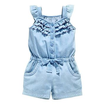 Kids Girls Summer Style Clothing Sleeveless Rompers Denim Blue Washed Jeans Bow Jumpsuit 0-5Y