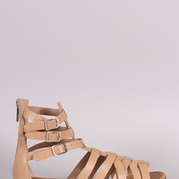 Breckelle Buckled Strappy Gladiator Flat Sandal