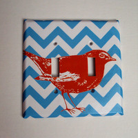 Blue Chevron Double or Single Light Switch Cover Oversized Tangerine Bird