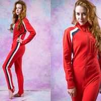 vtg 70's 80's red racing jumpsuit, womens striped athletic jumper 1980s, vintage Onesuit, tumblr soft grunge vaporwave aesthetic fashion