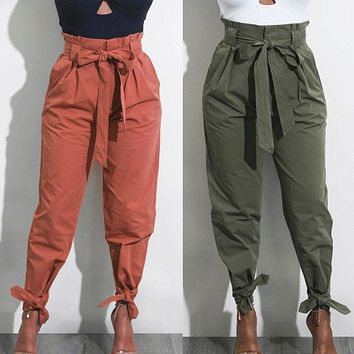 2017 Fashion Autumn women hight waist pants sweet drawstring waist casual female trousers bottoms