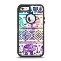 The Tie-Dyed Aztec Elephant Pattern Apple iPhone 5-5s Otterbox Defender Case Skin Set