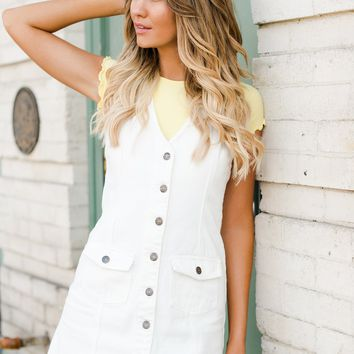 All About Her Overall Dress (White)