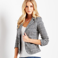 Aeropostale  Womens Printed Tweed Blazer - Black, X-Small