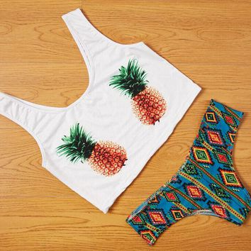 DCCKJ1A Cute Pineapple Bikini Set Swimsuit Summer Tank Top Sports Vest Gift