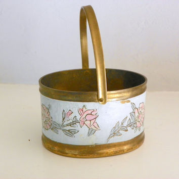 Vintage Brass Basket with Floral Decoration, Rustic Metal Garden Decor