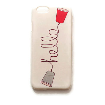 iPhone 6 Case Hello iPhone 6 Hard Funny Phone Back Cover For iPhone 6 Humor Slim Design Case Cup And String Phone 9823