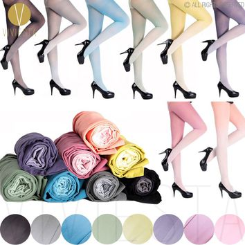GRADIENT COLOR OPAQUE TIGHTS - 30D Women's Girls' Fashion Trend Cute Sexy Sheer Ombre Candy Colorful Hosiery Stockings Pantyhose