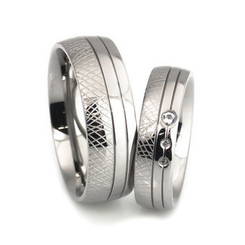 Hand Craft design titanium wedding Bands set