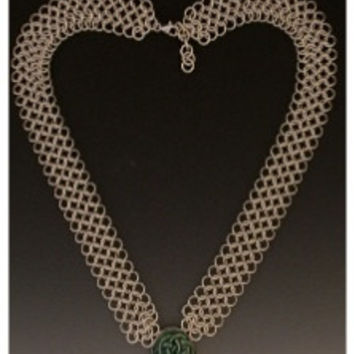 Chainmaille Necklace with Porcelain Knot Collar
