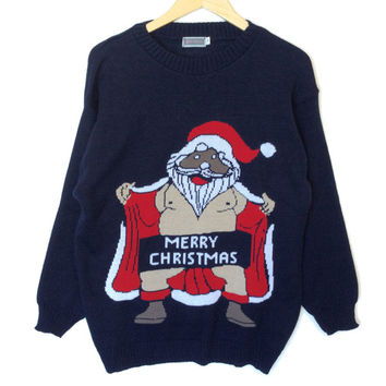Naughty Flasher Santa Tacky Ugly Christmas Sweater