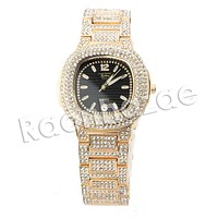 HIP HOP ICED OUT RAONHAZAE FABOLOUS LUXURY GOLD FINISHED LAB DIAMOND WATCH