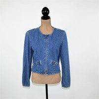 80s 90s Vintage Denim Jacket Women Jean Jacket Medium Boho Cropped Zip Up Jacket 1980s 1990 Liz Claiborne Vintage Clothing Women Size 8