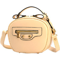 Beige Candy Color PU Leather Zippered Mini Shoulder Bag