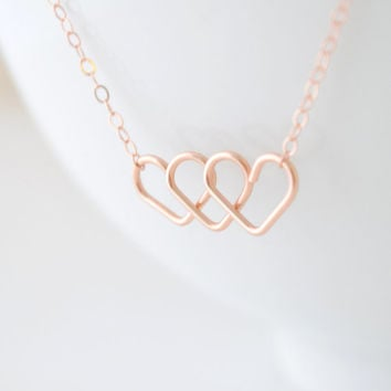 Infinite Love Necklace - triple heart necklace - 3 heart necklace - infinity necklace - 1274