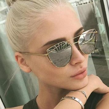 2017 Topsella Women's Cat eye Optical Glasses Frame 2017 New Brand Design Mirror Rose Gold Clear Cateye Sunglasses Fashion Vintage Lady Eyewear