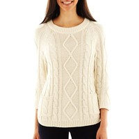 Liz Claiborne 3/4-Sleeve Cable Knit Sweater
