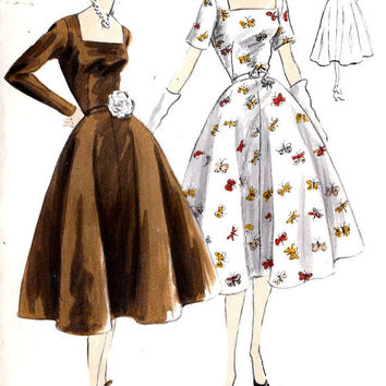 "1950s Cocktail Dress, Party Dress Vintage Sewing Pattern, Easy to Make Vogue 7542 bust 30"" uncut"