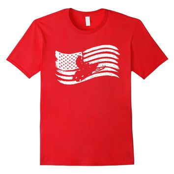 American Flag T-Shirt For Snowmobile Rider Vintage Look