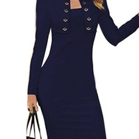 Deep Blue Long Sleeve Button Design Dress