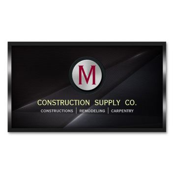 Construction Metal Framed Monogram Black Metal Business Card