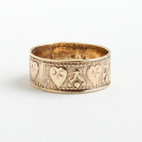 Antique Edwardian Rosy Yellow Gold Filled Ring Band - Size 9 1/2 Cigar Band with Eternity Hearts Repousse Design Early 1900s Jewelry