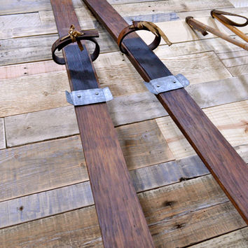 Vintage Wood Skis, Viking Brand Skis, Norwegian Style Wood Skis