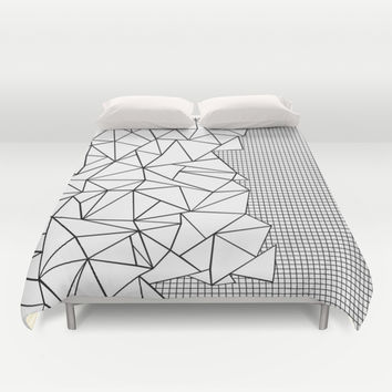 Abstraction Outline Grid on Side White Duvet Cover by Project M