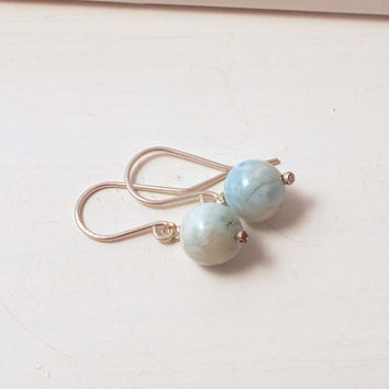 Blue Silver Dangle Earrings, Sterling Silver Jewelry