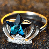 Unique Womens Silver Ring with Stars Crystal Adjustment Fashion Casual Jewelry Best Gift One Size Rings-87