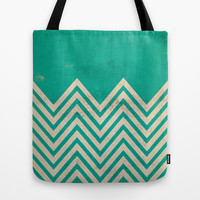 TEXTURED TEAL CHEVRON Tote Bag by Allyson Johnson