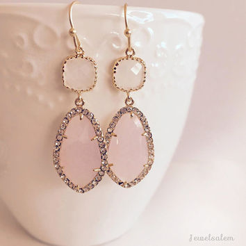 Blush Pink Earrings, Rose Quartz Birthstone, Wedding, Bridal Jewelry, Gold Filled Dangle Tear Drop Earrings, Bridesmaids Gift, Prom Earrings