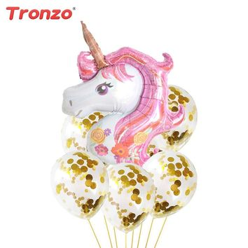 Tronzo 12inch Gold Confetti Balloons 39inch Inflatable Unicorn Balloon Unicorn Party Birthday Party Decoration Wedding Supplies