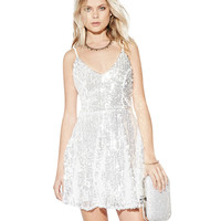 V-neck Sequined Spaghetti Strap Backless A-Line Mini Skater Dress