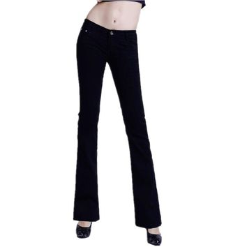 2016 Slim Women Jeans Casual Mid Waist Elastic Candy 10Color Plus Size Denim Flare Pants Trousers Woman Bell Bottom Trouser