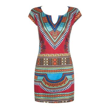 Sexy Traditional African Print Casual Short Sleeve Dashiki Beach Dress